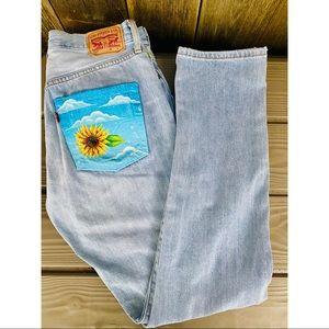 LEVI'S 501 XX sunflower painted light wash jeans